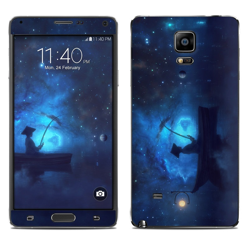 Samsung Galaxy Note 4 Skin design of Sky, Night, Atmosphere, Light, Atmospheric phenomenon, Darkness, Screenshot, Space, Midnight, Moonlight with white, blue, black, green, orange colors