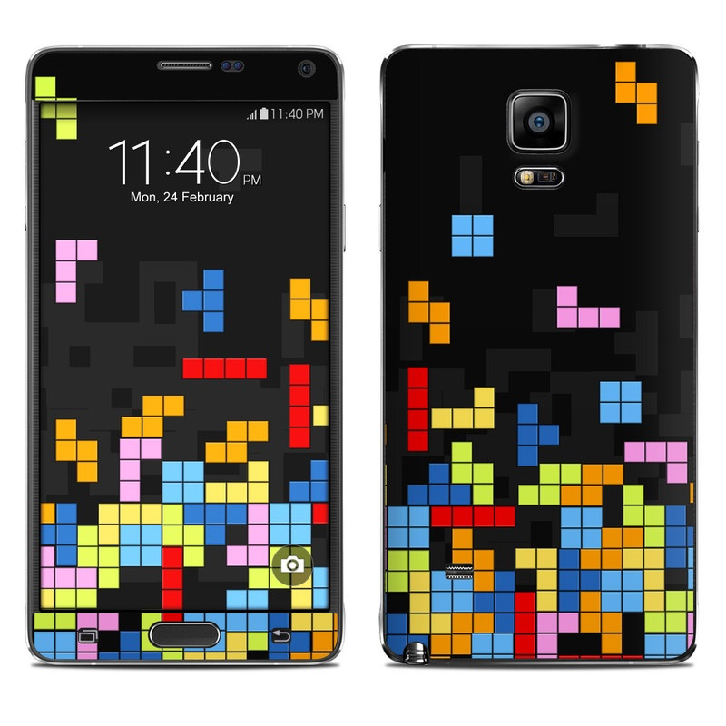 Samsung Galaxy Note 4 Skin design of Pattern, Symmetry, Font, Design, Graphic design, Line, Colorfulness, Magenta, Square, Graphics with black, green, blue, orange, red colors