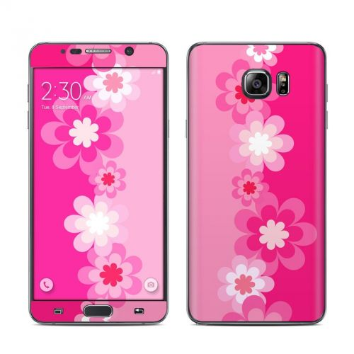 Retro Pink Flowers Galaxy Note 5 Skin