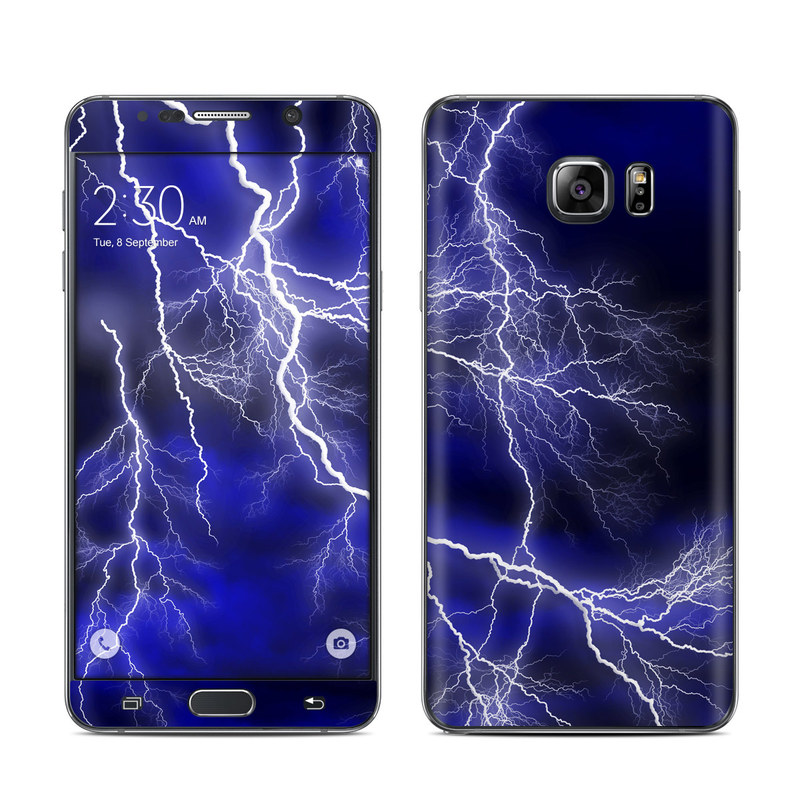 Samsung Galaxy Note 5 Skin design of Thunder, Lightning, Thunderstorm, Sky, Nature, Electric blue, Atmosphere, Daytime, Blue, Atmospheric phenomenon with blue, black, white colors