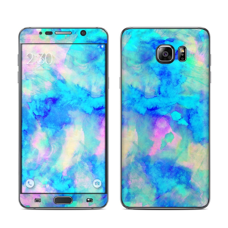Samsung Galaxy Note 5 Skin design of Blue, Turquoise, Aqua, Pattern, Dye, Design, Sky, Electric blue, Art, Watercolor paint with blue, purple colors