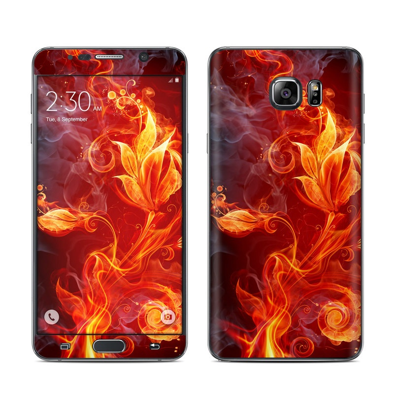 Samsung Galaxy Note 5 Skin design of Flame, Fire, Heat, Red, Orange, Fractal art, Graphic design, Geological phenomenon, Design, Organism with black, red, orange colors