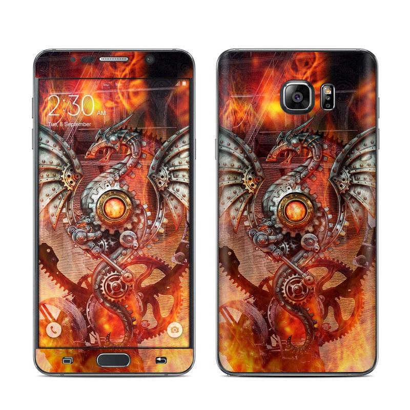 Samsung Galaxy Note 5 Skin design of Dragon, Demon, Cg artwork, Illustration, Fictional character, Fractal art, Flame, Art, Mythology, Supernatural creature with red, black, orange, pink, green colors