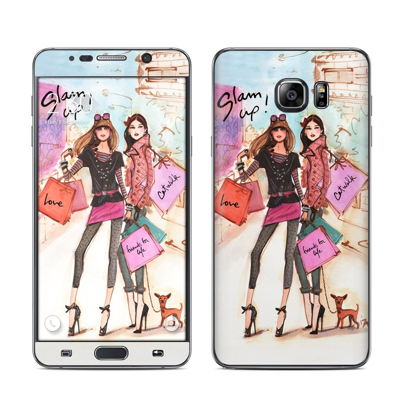 Samsung Galaxy Note 5 Skin design of Fashion illustration, Fashion, Fashion model, Pink, Fashion design, Illustration, Street fashion, Shopping, Style, Art with gray, pink, white, yellow, black, red colors