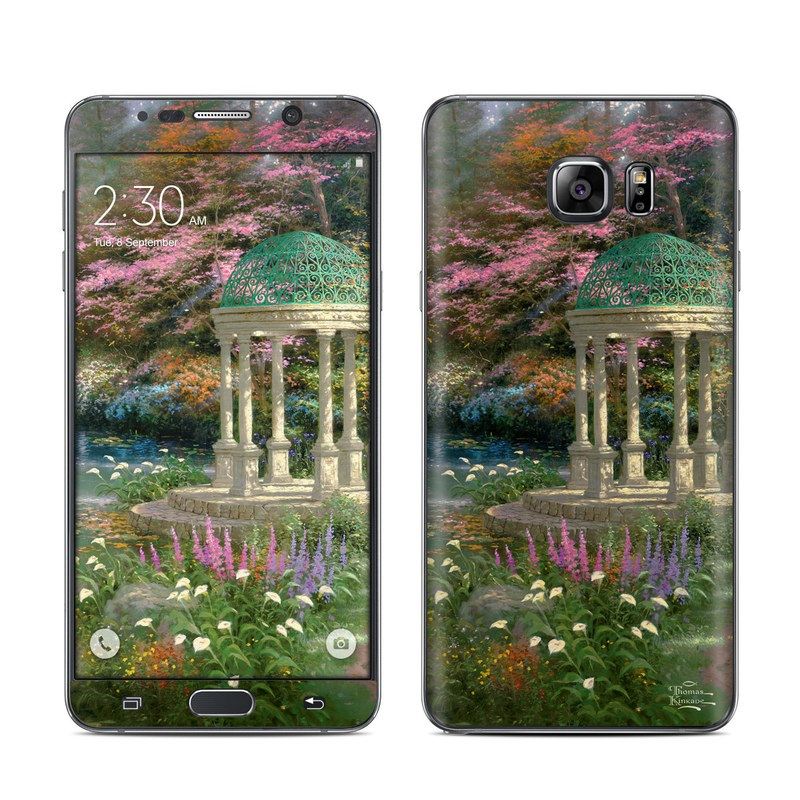Samsung Galaxy Note 5 Skin design of Nature, Natural landscape, Tree, Botany, Water, Garden, Gazebo, Spring, Plant, Reflection with black, gray, green, red, purple colors