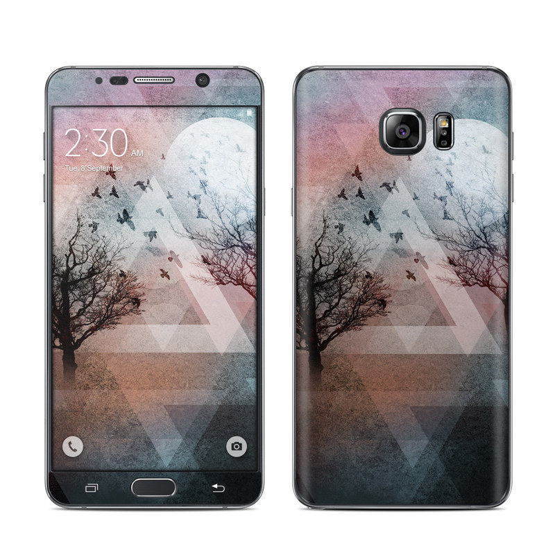 Samsung Galaxy Note 5 Skin design of Sky, Tree, Red, Natural landscape, Branch, Watercolor paint, Painting, Visual arts, Art, Illustration with gray, black, red, blue, green colors
