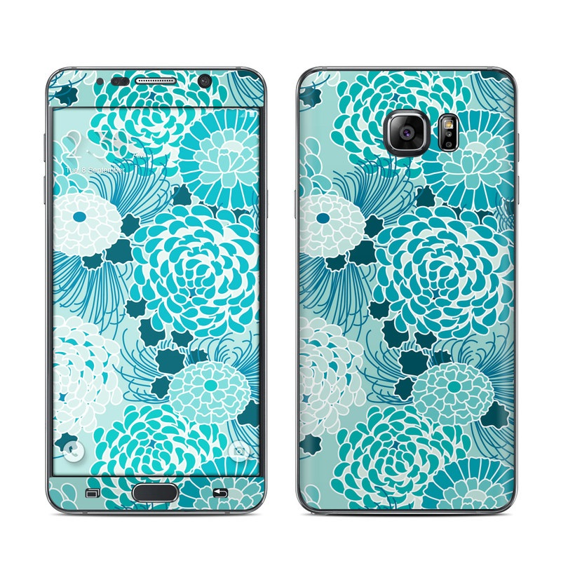 Samsung Galaxy Note 5 Skin design of Aqua, Blue, Turquoise, Pattern, Teal, Design, Textile, Lace, Pedicel, Circle with blue, white colors