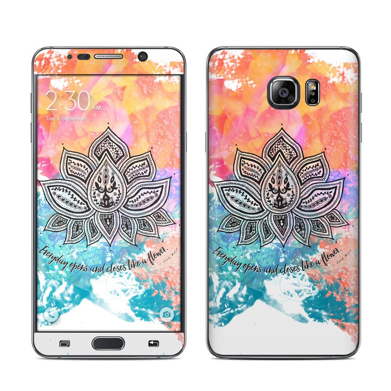 Samsung Galaxy Note 5 Skin design of Pink, Leaf, Pattern, Design, Graphic design, Illustration, Symmetry, Visual arts, Art, Plant with orange, yellow, red, blue, green, black colors