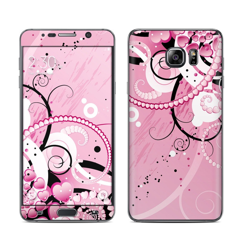 Samsung Galaxy Note 5 Skin design of Pink, Floral design, Graphic design, Text, Design, Flower Arranging, Pattern, Illustration, Flower, Floristry with pink, gray, black, white, purple, red colors