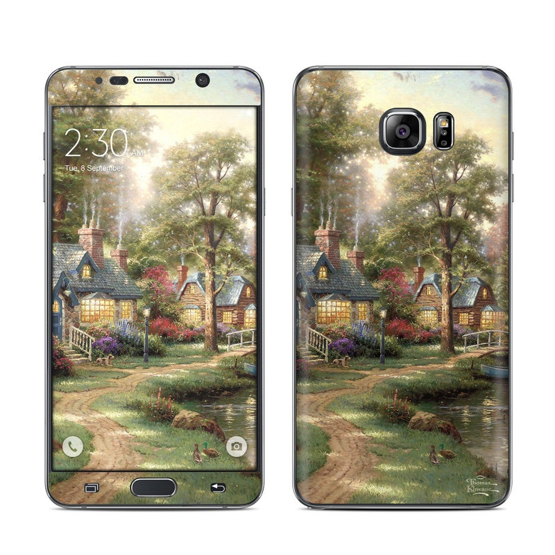 Samsung Galaxy Note 5 Skin design of Painting, Natural landscape, Home, House, Tree, Waterway, Bank, Landscape, Watercolor paint, Art with black, green, gray, red, yellow, pink colors