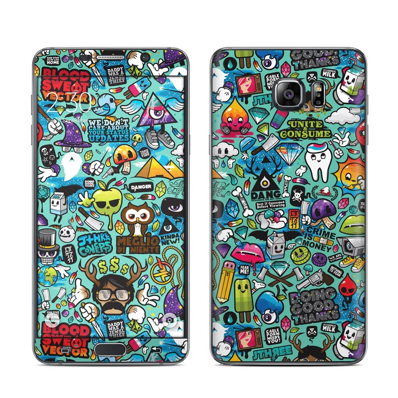 Samsung Galaxy Note 5 Skin design of Cartoon, Art, Pattern, Design, Illustration, Visual arts, Doodle, Psychedelic art with black, blue, gray, red, green colors