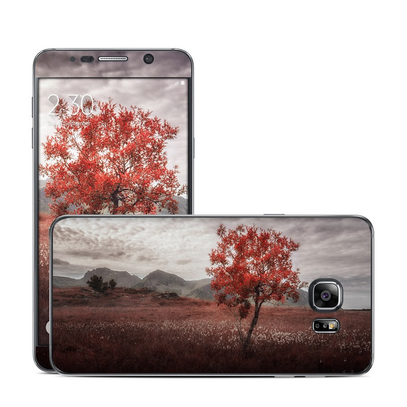Samsung Galaxy Note 5 Skin design of Natural landscape, Nature, Tree, Sky, Red, Natural environment, Atmospheric phenomenon, Leaf, Cloud, Woody plant with black, gray, red colors
