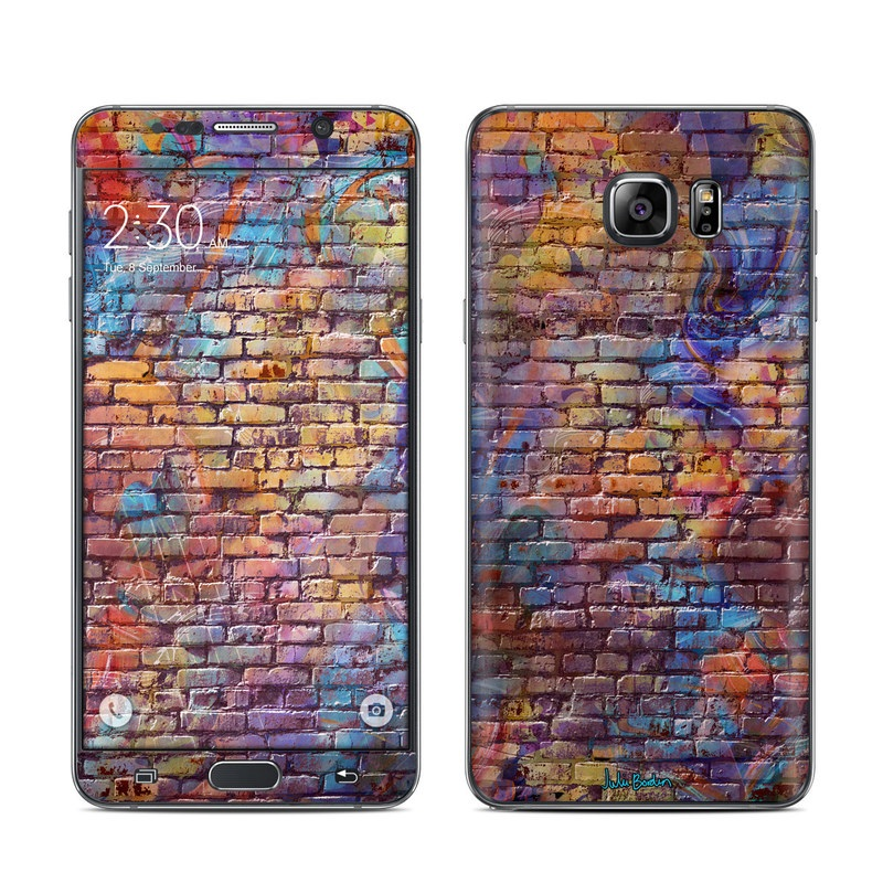 Samsung Galaxy Note 5 Skin design of Wall, Pattern, Art, Close-up, Brickwork, Brick, Design, Textile, Mosaic, Visual arts with black, red, blue, gray, green, purple colors