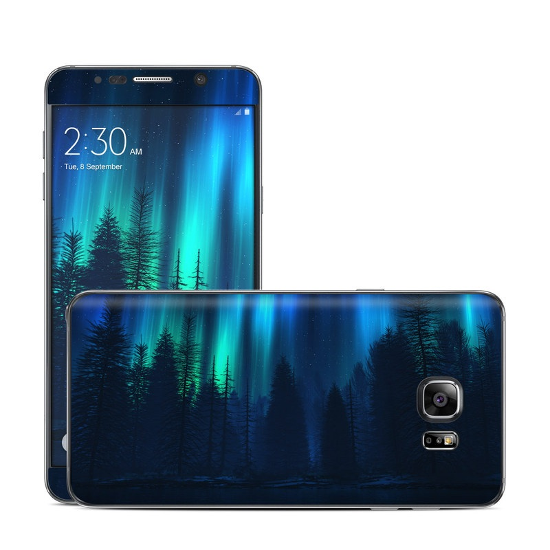 Samsung Galaxy Note 5 Skin design of Blue, Light, Natural environment, Tree, Sky, Forest, Darkness, Aurora, Night, Electric blue with black, blue colors