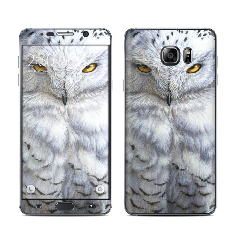 Samsung Galaxy Note 5 Skin design of Owl, Bird, Bird of prey, Snowy owl, great grey owl, Close-up, Eye, Snout, Wildlife, Eastern Screech owl with gray, white, black, blue, purple colors