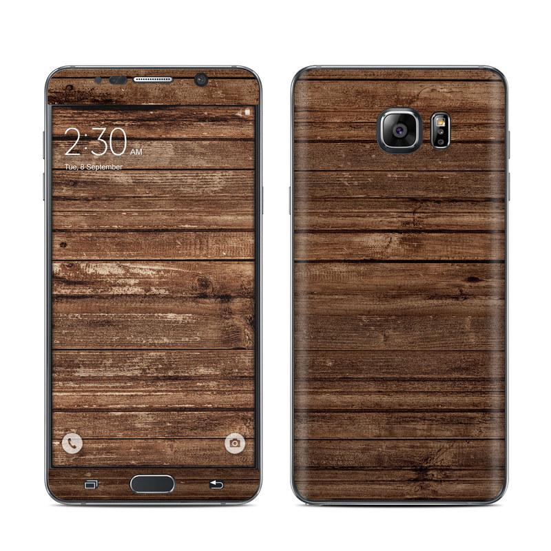 Samsung Galaxy Note 5 Skin design of Wood, Brown, Wood stain, Plank, Hardwood, Wood flooring, Line, Pattern, Floor, Flooring with brown colors