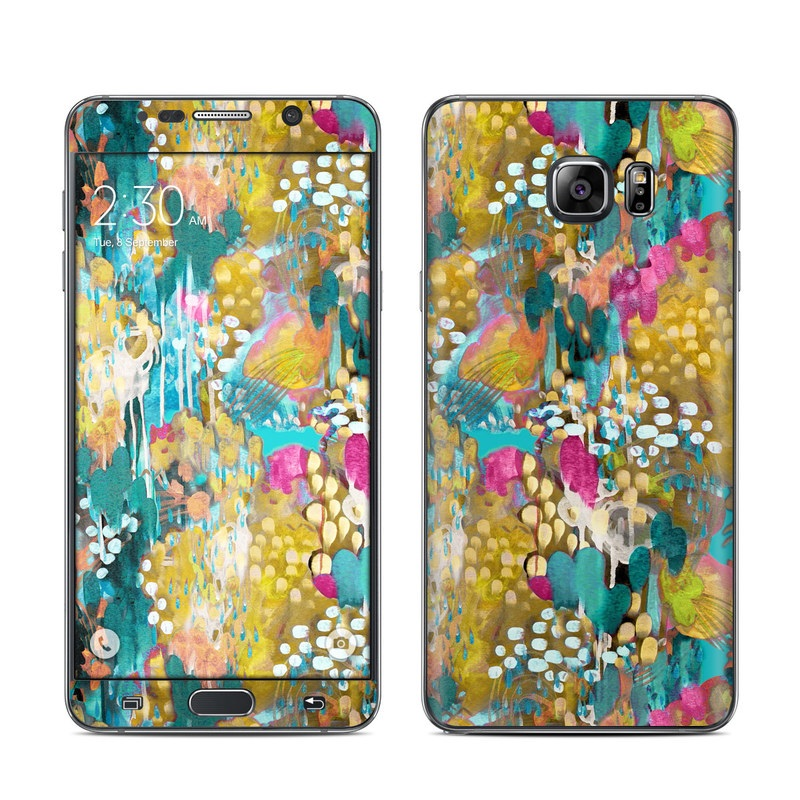 Samsung Galaxy Note 5 Skin design of Pattern, Textile, Design, Art, Visual arts, Wildflower with green, gray, blue, black, red colors