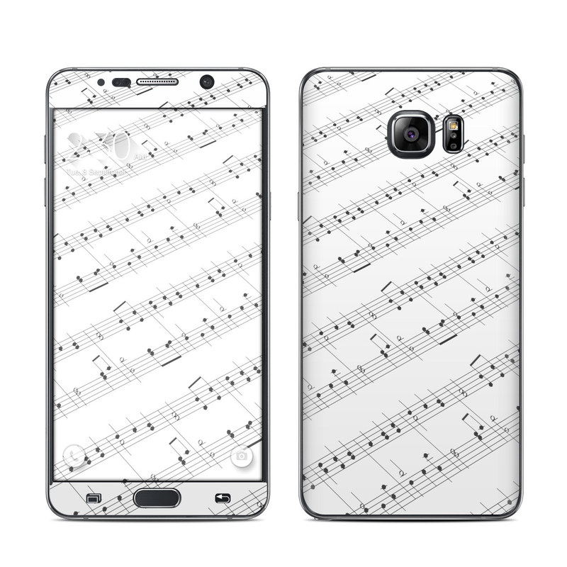 Samsung Galaxy Note 5 Skin design of Sheet music, Music, Text, Monochrome, Line, Font, Parallel, Classical music with white, gray colors