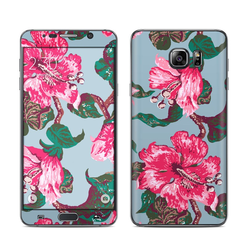 Samsung Galaxy Note 5 Skin design of Flower, Hawaiian hibiscus, Pink, Plant, Flowering plant, Botany, Pattern, Hibiscus, Design, Petal with gray, black, pink, red colors