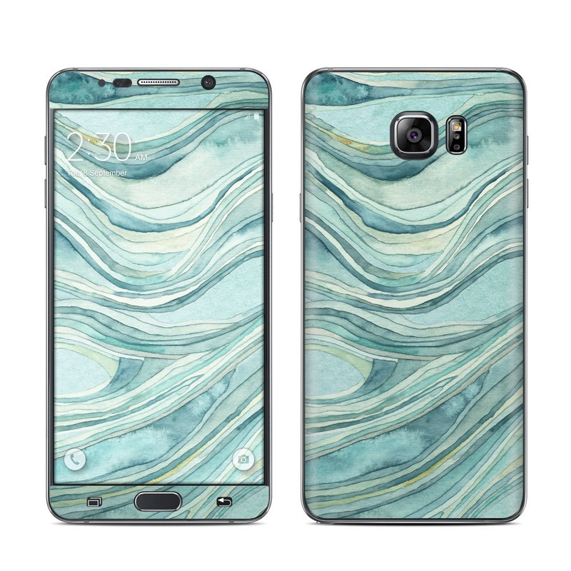 Samsung Galaxy Note 5 Skin design of Aqua, Blue, Pattern, Turquoise, Teal, Water, Design, Line, Wave, Textile with gray, blue colors