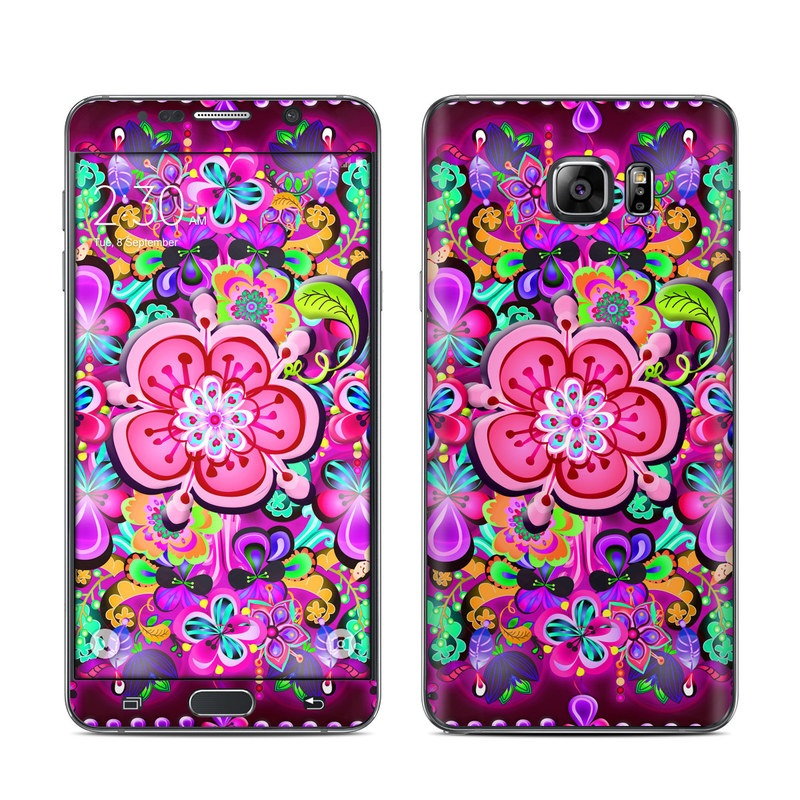 Samsung Galaxy Note 5 Skin design of Pattern, Pink, Design, Textile, Magenta, Art, Visual arts, Paisley with purple, black, red, gray, blue colors