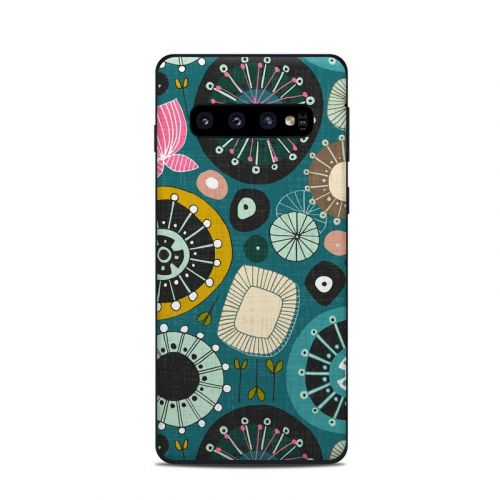 Blooms Teal Samsung Galaxy S10 Skin