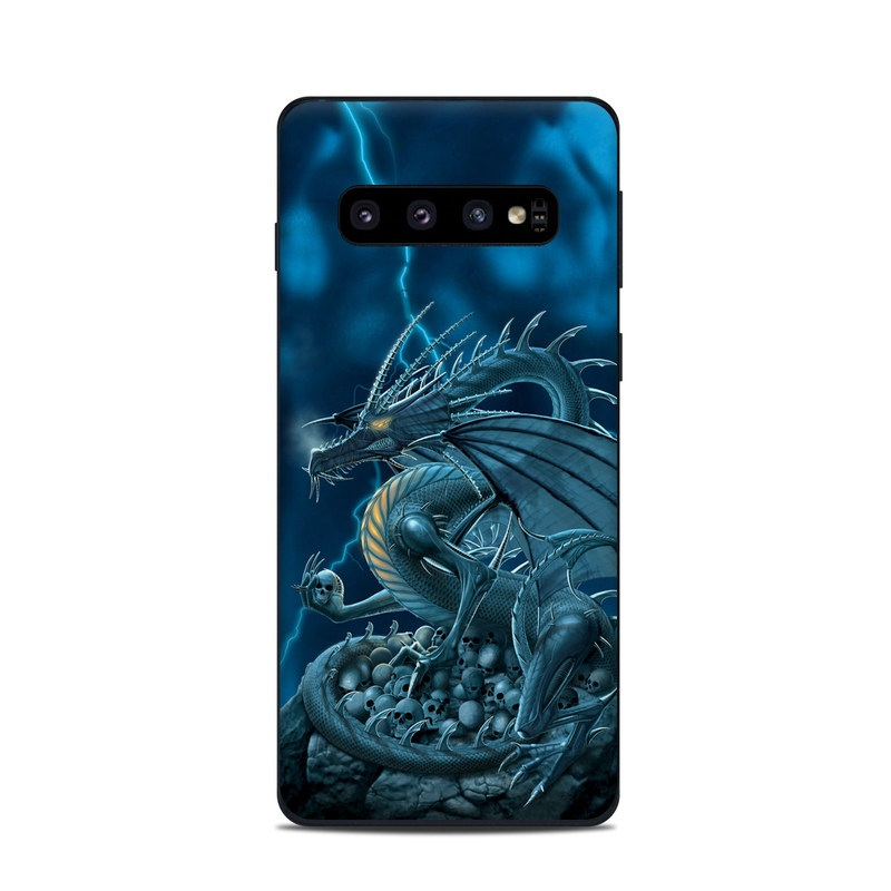 Samsung Galaxy S10 Skin design of Cg artwork, Dragon, Mythology, Fictional character, Illustration, Mythical creature, Art, Demon with blue, yellow colors