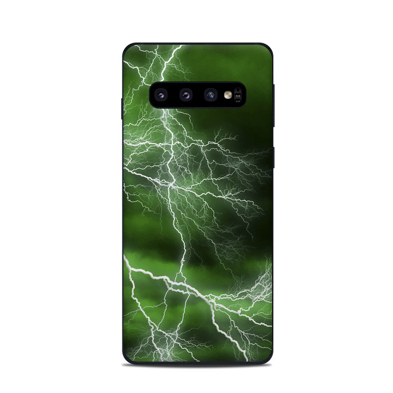 Samsung Galaxy S10 Skin design of Thunderstorm, Thunder, Lightning, Nature, Green, Water, Sky, Atmosphere, Atmospheric phenomenon, Daytime with green, black, white colors