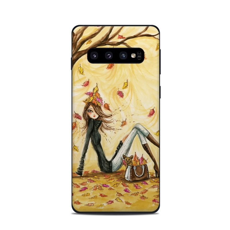 Samsung Galaxy S10 Skin design of Painting, Watercolor paint, Tree, Art, Illustration, Plant, Modern art, Visual arts, Still life, Fictional character with yellow, red, brown, orange, black, white colors