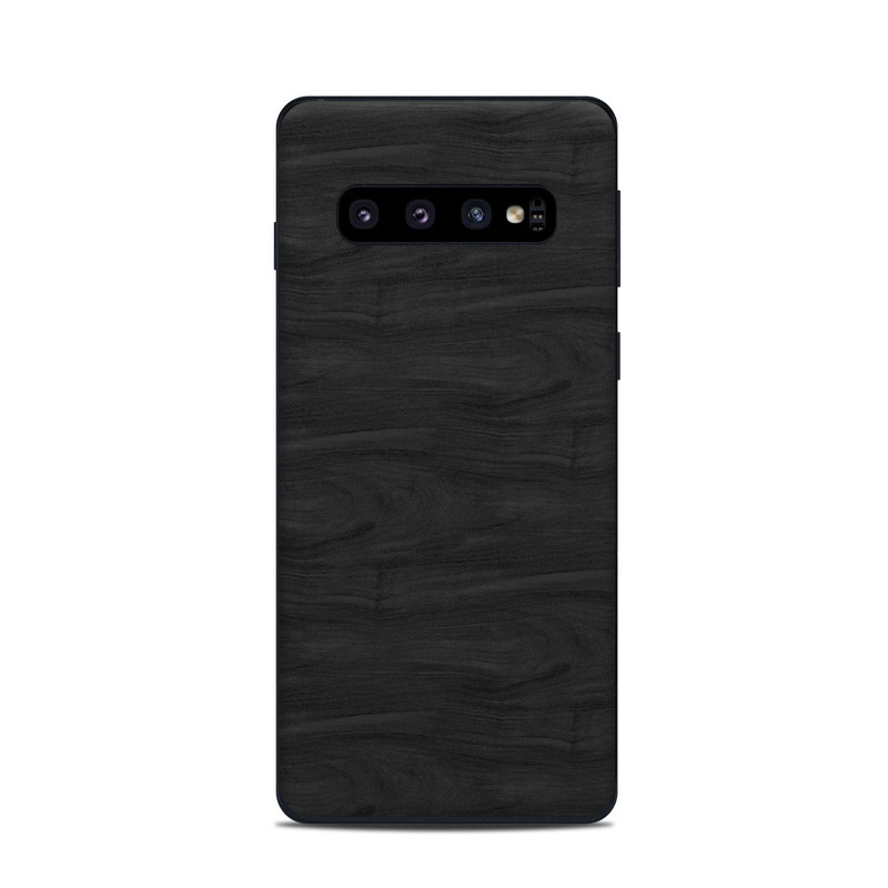 Samsung Galaxy S10 Skin design of Black, Brown, Wood, Grey, Flooring, Floor, Laminate flooring, Wood flooring with black colors