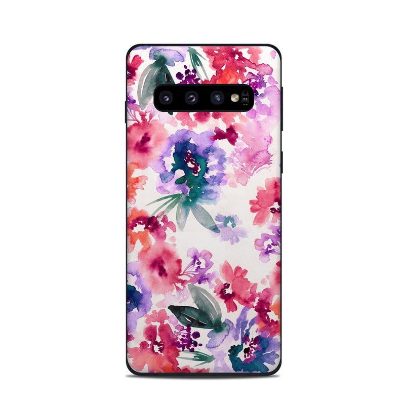 Samsung Galaxy S10 Skin design of Purple, Pattern, Pink, Lilac, Violet, Flower, Watercolor paint, Floral design, Plant, Design with green, pink, red, purple, white colors