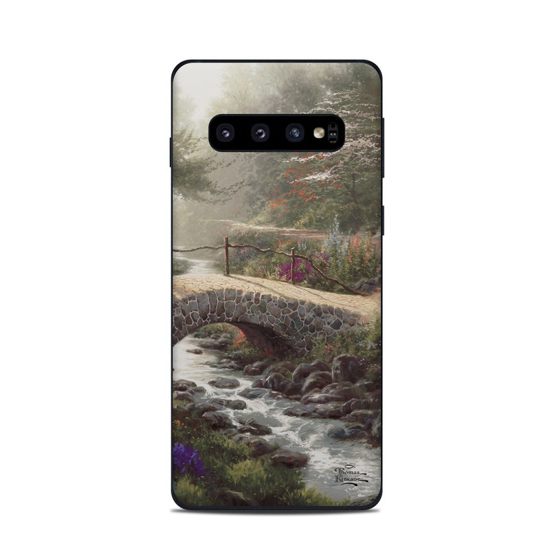 Samsung Galaxy S10 Skin design of Nature, Natural landscape, Painting, Tree, Atmospheric phenomenon, Landscape, Sky, Leaf, Spring, Botany with brown, red, green, purple, pink colors