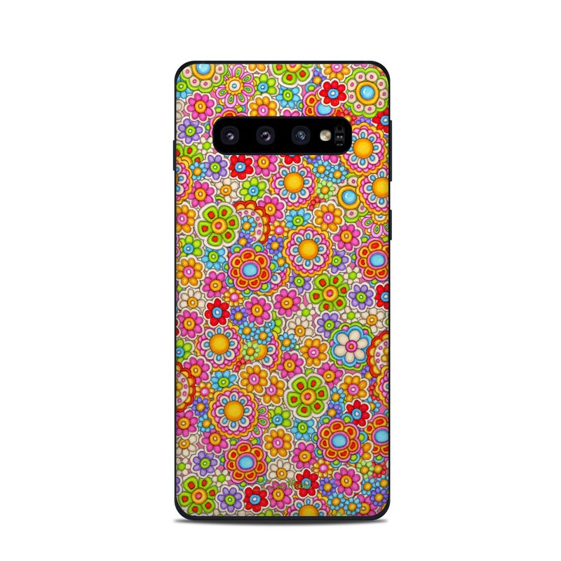 Samsung Galaxy S10 Skin design of Pattern, Design, Textile, Visual arts with pink, red, orange, yellow, green, blue, purple colors