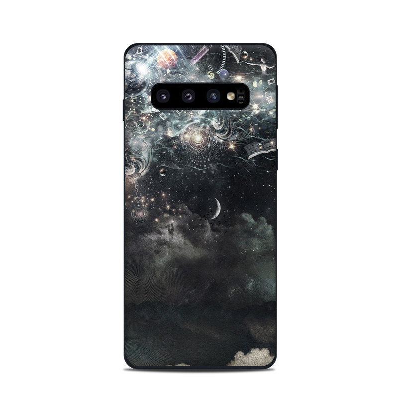 Samsung Galaxy S10 Skin design of Space, Cg artwork, Art, Sky, Darkness, Illustration, Graphic design, Outer space, Graphics, Animation with white, black, gray, yellow colors