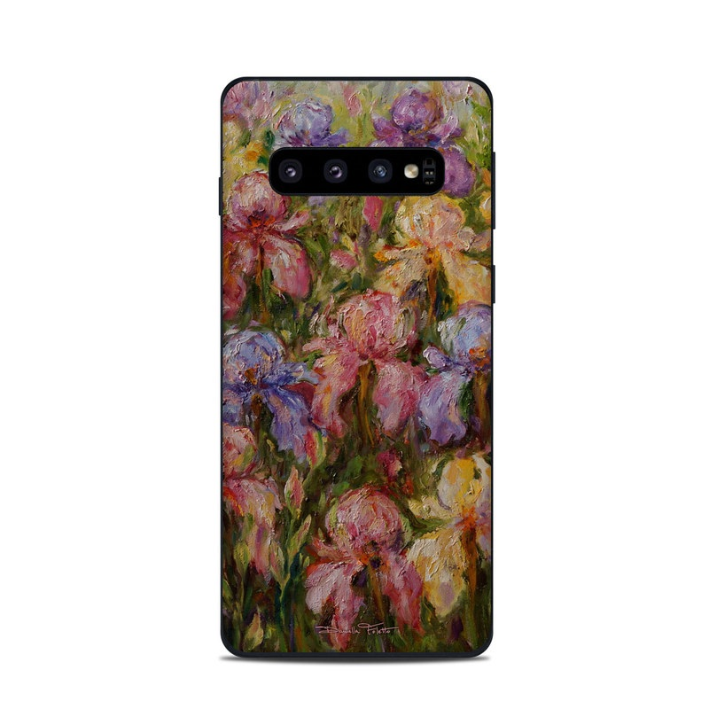 Samsung Galaxy S10 Skin design of Flower, Painting, Still life, Plant, Watercolor paint, Flowering plant, Visual arts, Garden roses, Art, Artwork with black, gray, red, green, purple, blue colors