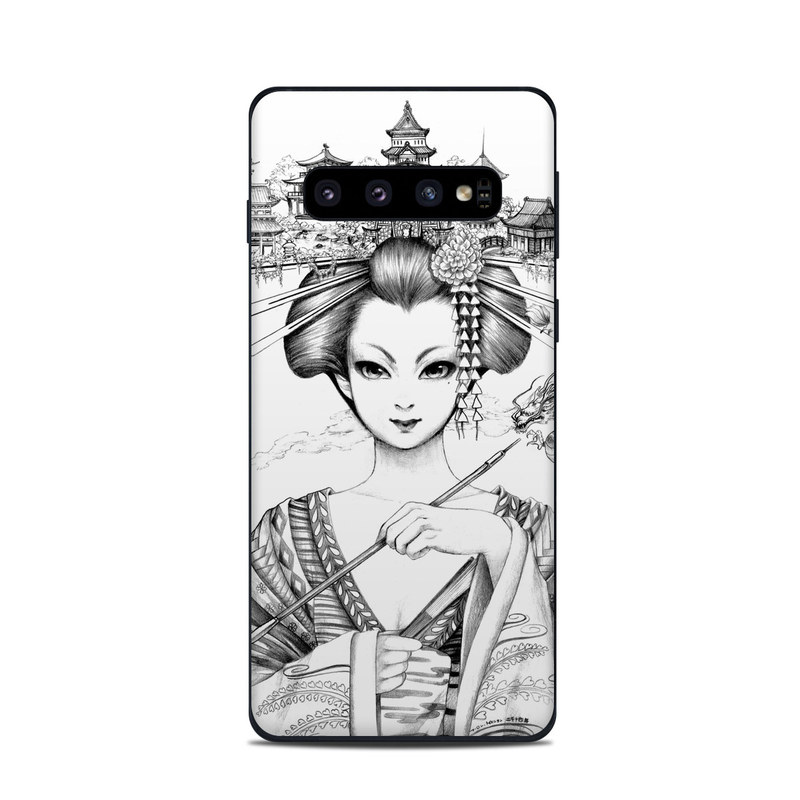 Samsung Galaxy S10 Skin design of Illustration, Head, Hairstyle, Line art, Art, Fashion illustration, Drawing, Coloring book, Black-and-white, Clip art with black, white, gray colors