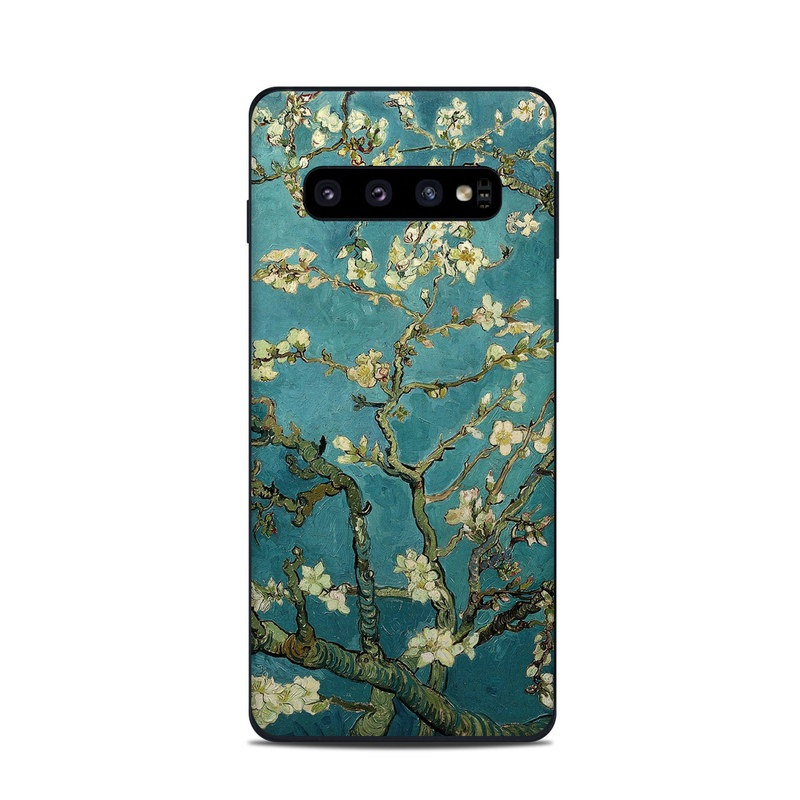Samsung Galaxy S10 Skin design of Tree, Branch, Plant, Flower, Blossom, Spring, Woody plant, Perennial plant with blue, black, gray, green colors