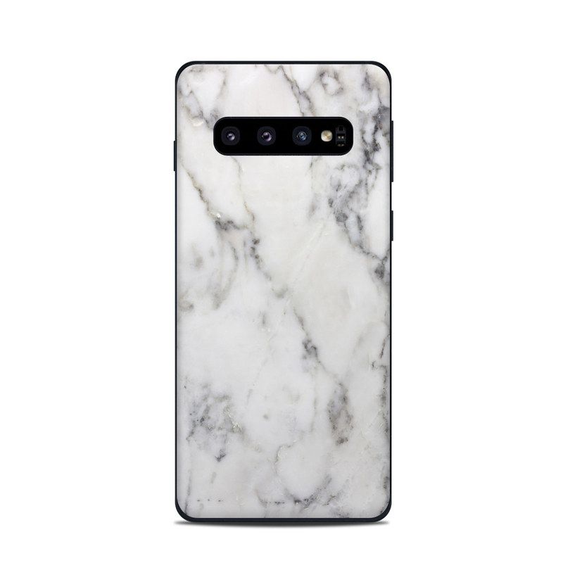 Samsung Galaxy S10 Skin design of White, Geological phenomenon, Marble, Black-and-white, Freezing with white, black, gray colors