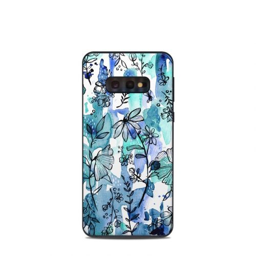 Blue Ink Floral Samsung Galaxy S10e Skin