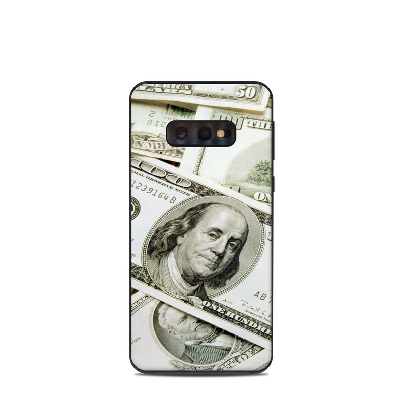 Samsung Galaxy S10e Skin design of Money, Cash, Currency, Banknote, Dollar, Saving, Money handling, Paper, Stock photography, Paper product with green, white, black, gray colors