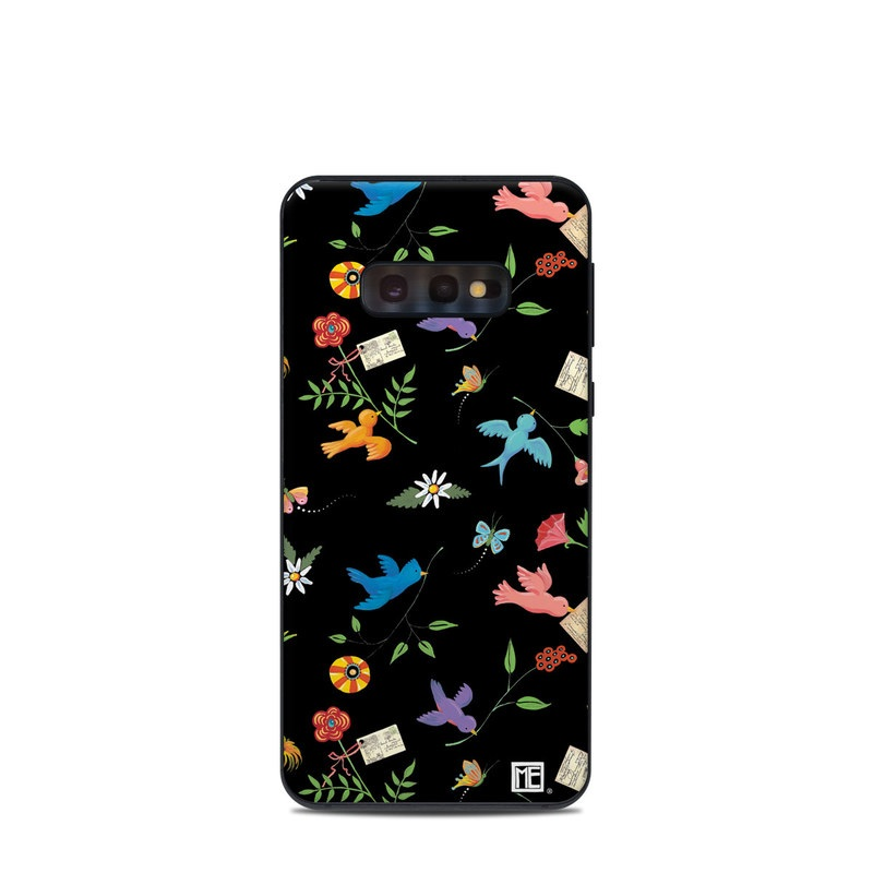 Samsung Galaxy S10e Skin design of Pattern, Design, Textile, Graphic design with black, yellow, red, blue, green colors