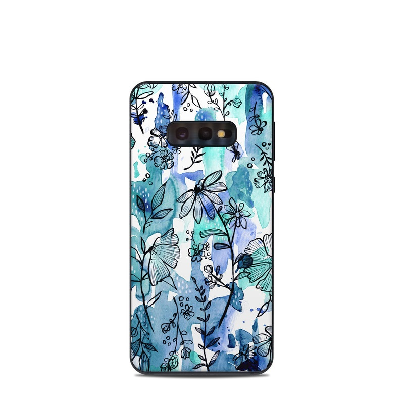 Samsung Galaxy S10e Skin design of Blue, Pattern, Turquoise, Aqua, Design, Textile, Wildflower, Plant, Wrapping paper, Gift wrapping with blue, white, black, purple colors