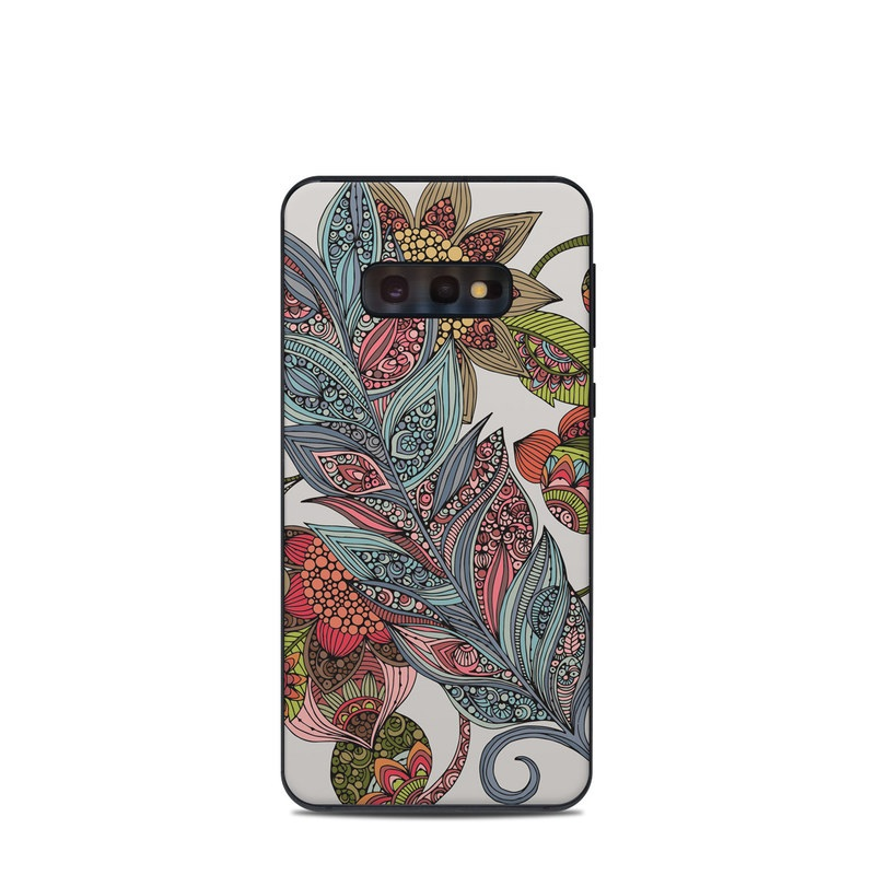 Samsung Galaxy S10e Skin design of Botany, Plant, Leaf, Pattern, Flower, Illustration, Design, Motif, Protea family, Flowering plant with green, blue, pink, red, yellow, orange, gray, brown colors