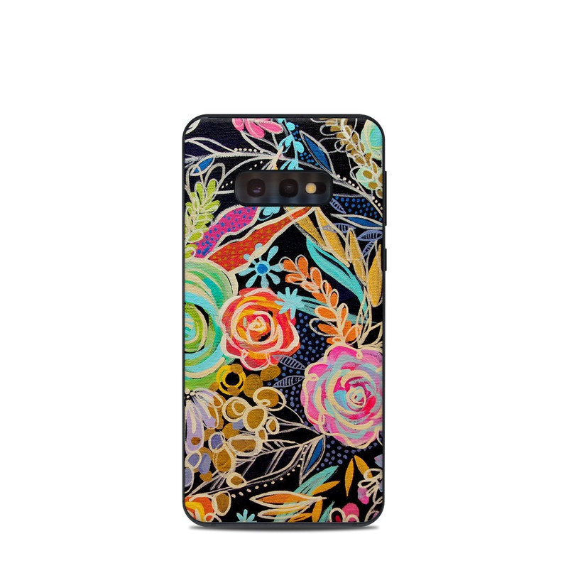 Samsung Galaxy S10e Skin design of Pattern, Floral design, Design, Textile, Visual arts, Art, Graphic design, Psychedelic art, Plant with black, gray, green, red, blue colors