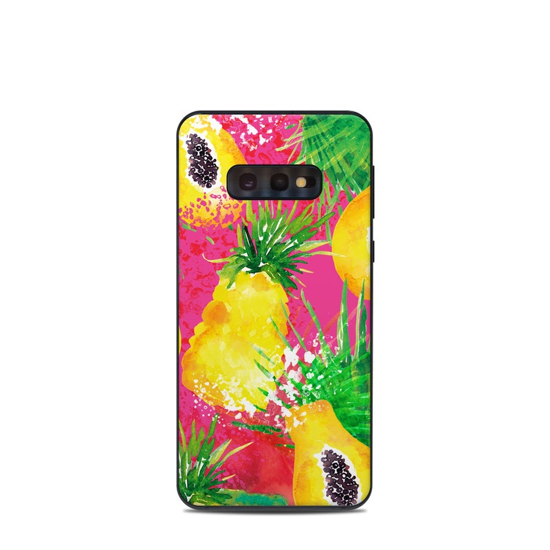 Samsung Galaxy S10e Skin design of Yellow, Plant, Flower, Acrylic paint, Wildflower, Watercolor paint, Paint, Art with pink, green, orange, black, yellow colors