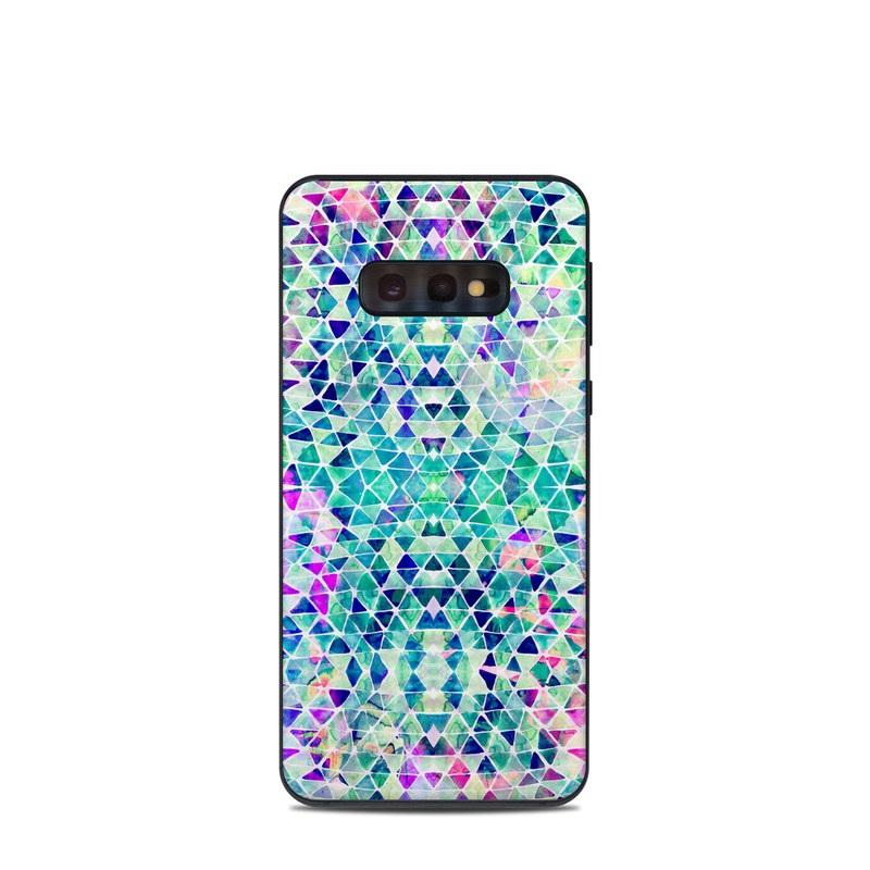 Samsung Galaxy S10e Skin design of Pattern, Aqua, Line, Teal, Purple, Turquoise, Design with white, blue, purple, orange, green colors