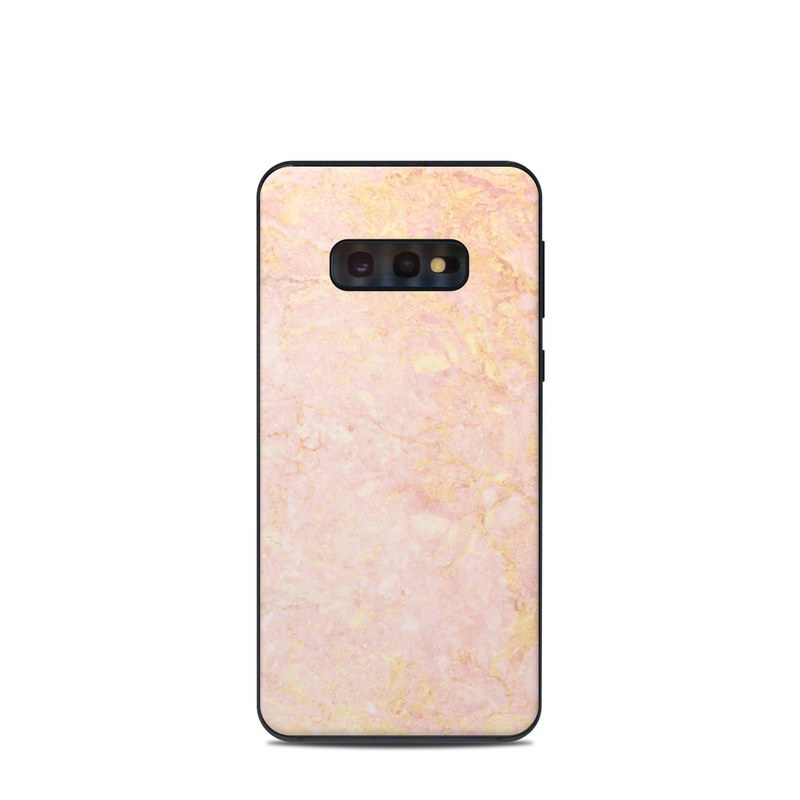Samsung Galaxy S10e Skin design of Pink, Peach, Wallpaper, Pattern with pink, yellow, orange colors