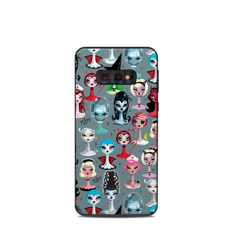 Samsung Galaxy S10e Skin design of Facial expression, Head, Design, Collection, Fictional character, Pattern, Skull, Illustration, Collage, Style with gray, white, red, blue, green, black, pink, purple colors