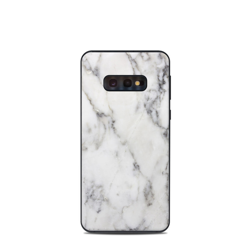 Samsung Galaxy S10e Skin design of White, Geological phenomenon, Marble, Black-and-white, Freezing with white, black, gray colors
