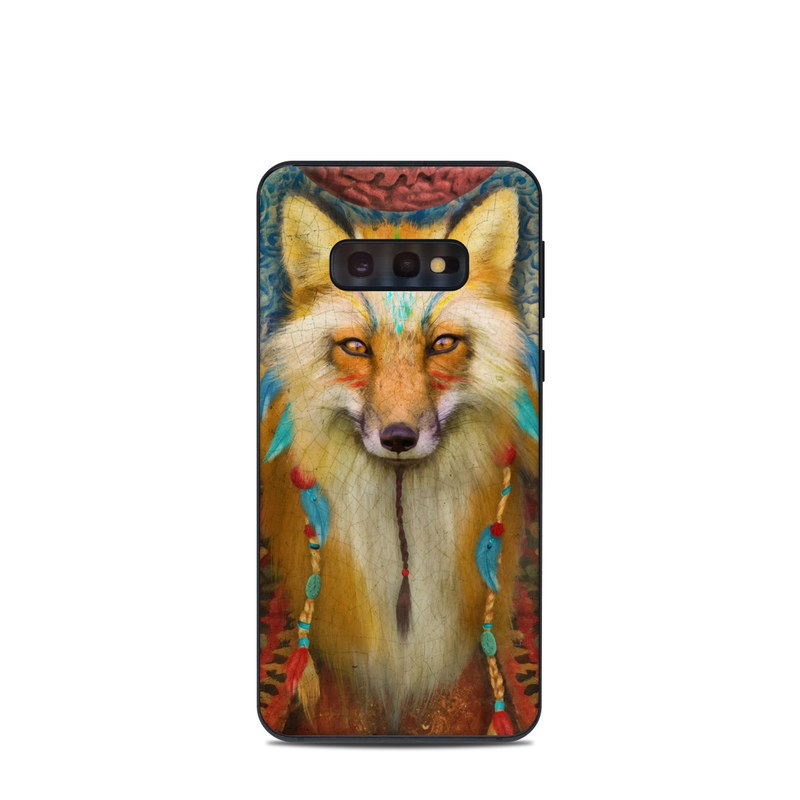 Samsung Galaxy S10e Skin design of Red fox, Canidae, Fox, Wildlife, Swift fox, Carnivore, Jackal, Fur, Snout, Art with red, black, gray, green, blue colors